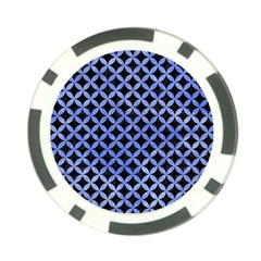 Circles3 Black Marble & Blue Watercolor Poker Chip Card Guard by trendistuff