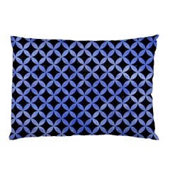 Circles3 Black Marble & Blue Watercolor Pillow Case by trendistuff