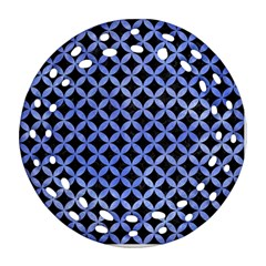 Circles3 Black Marble & Blue Watercolor Round Filigree Ornament (two Sides)