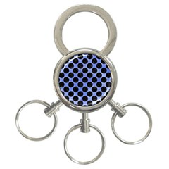 Circles2 Black Marble & Blue Watercolor (r) 3 Ring Key Chain