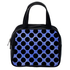 Circles2 Black Marble & Blue Watercolor (r) Classic Handbag (one Side) by trendistuff