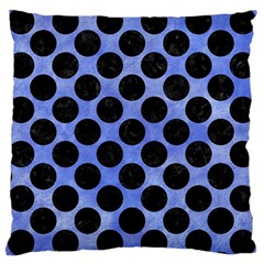 Circles2 Black Marble & Blue Watercolor (r) Large Cushion Case (one Side) by trendistuff