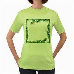 Beautiful Frame Made Up Of Blue Peacock Feathers Women s Green T Shirt