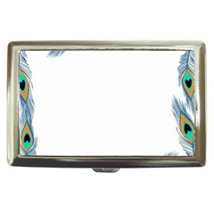 Beautiful Frame Made Up Of Blue Peacock Feathers Cigarette Money Cases by Nexatart