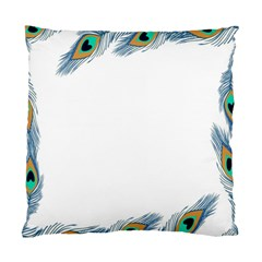 Beautiful Frame Made Up Of Blue Peacock Feathers Standard Cushion Case (one Side) by Nexatart
