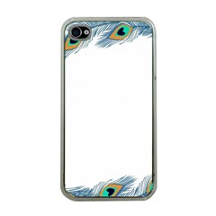 Beautiful Frame Made Up Of Blue Peacock Feathers Apple Iphone 4 Case (clear) by Nexatart