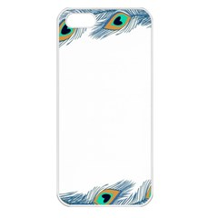 Beautiful Frame Made Up Of Blue Peacock Feathers Apple Iphone 5 Seamless Case (white) by Nexatart