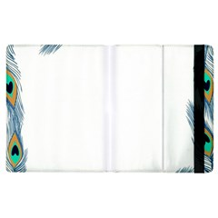 Beautiful Frame Made Up Of Blue Peacock Feathers Apple Ipad 2 Flip Case by Nexatart
