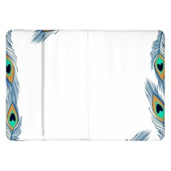 Beautiful Frame Made Up Of Blue Peacock Feathers Samsung Galaxy Tab 8 9  P7300 Flip Case by Nexatart