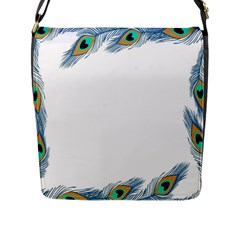 Beautiful Frame Made Up Of Blue Peacock Feathers Flap Messenger Bag (l)  by Nexatart