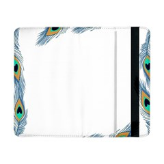 Beautiful Frame Made Up Of Blue Peacock Feathers Samsung Galaxy Tab Pro 8 4  Flip Case by Nexatart