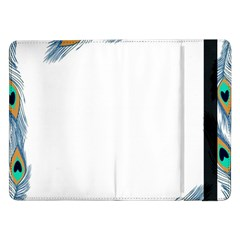 Beautiful Frame Made Up Of Blue Peacock Feathers Samsung Galaxy Tab Pro 12 2  Flip Case by Nexatart
