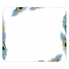 Beautiful Frame Made Up Of Blue Peacock Feathers Double Sided Flano Blanket (small)  by Nexatart
