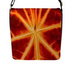 Red Leaf Macro Detail Flap Messenger Bag (l)  by Nexatart