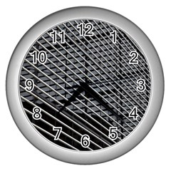 Abstract Architecture Pattern Wall Clocks (silver)  by Nexatart