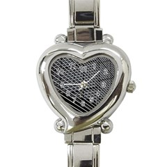 Abstract Architecture Pattern Heart Italian Charm Watch by Nexatart