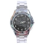 Abstract Architecture Pattern Stainless Steel Analogue Watch Front