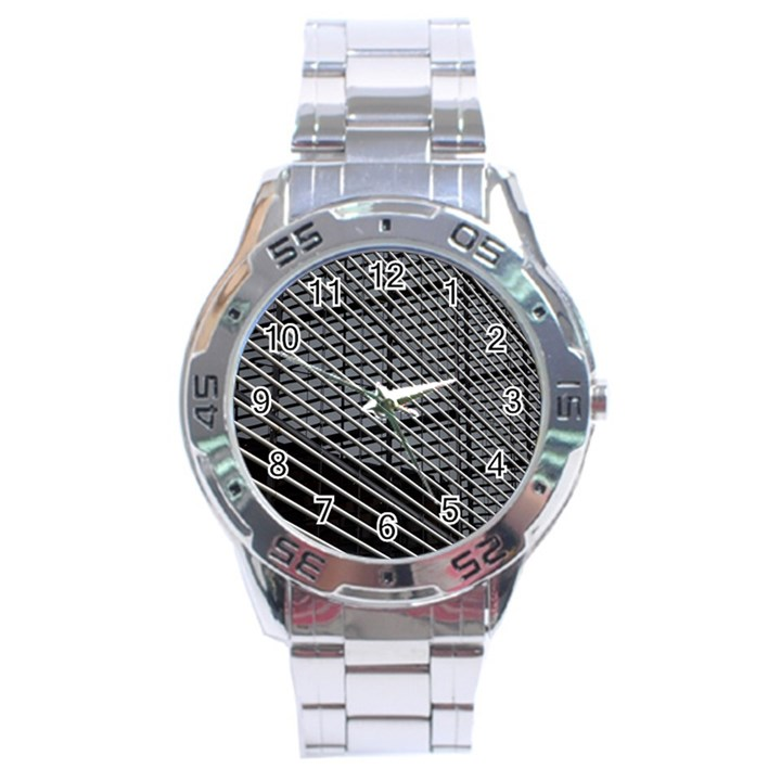 Abstract Architecture Pattern Stainless Steel Analogue Watch