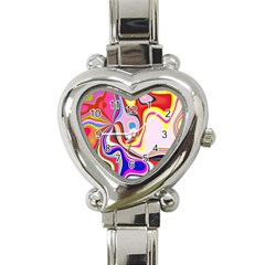 Colourful Abstract Background Design Heart Italian Charm Watch by Nexatart