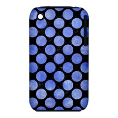 Circles2 Black Marble & Blue Watercolor Apple Iphone 3g/3gs Hardshell Case (pc+silicone) by trendistuff