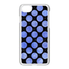 Circles2 Black Marble & Blue Watercolor Apple Iphone 7 Seamless Case (white) by trendistuff