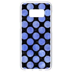 Circles2 Black Marble & Blue Watercolor Samsung Galaxy S8 White Seamless Case by trendistuff
