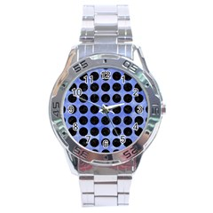 Circles1 Black Marble & Blue Watercolor (r) Stainless Steel Analogue Watch by trendistuff