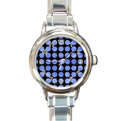 Circles1 Black Marble & Blue Watercolor Round Italian Charm Watch by trendistuff