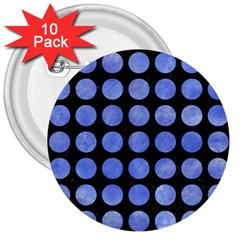 Circles1 Black Marble & Blue Watercolor 3  Button (10 Pack) by trendistuff