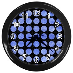 Circles1 Black Marble & Blue Watercolor Wall Clock (black) by trendistuff