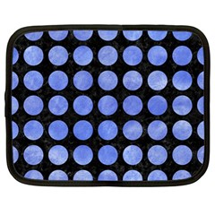 Circles1 Black Marble & Blue Watercolor Netbook Case (large) by trendistuff
