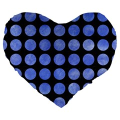 Circles1 Black Marble & Blue Watercolor Large 19  Premium Heart Shape Cushion by trendistuff