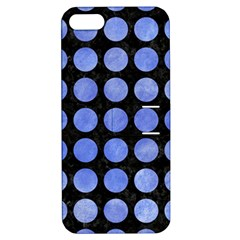 Circles1 Black Marble & Blue Watercolor Apple Iphone 5 Hardshell Case With Stand