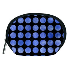 Circles1 Black Marble & Blue Watercolor Accessory Pouch (medium) by trendistuff