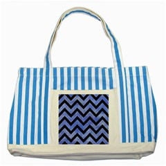 Chevron9 Black Marble & Blue Watercolor (r) Striped Blue Tote Bag by trendistuff