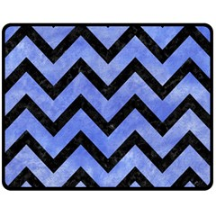 Chevron9 Black Marble & Blue Watercolor (r) Fleece Blanket (medium) by trendistuff