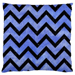 Chevron9 Black Marble & Blue Watercolor (r) Standard Flano Cushion Case (one Side) by trendistuff