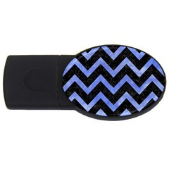 Chevron9 Black Marble & Blue Watercolor Usb Flash Drive Oval (2 Gb) by trendistuff