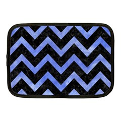 Chevron9 Black Marble & Blue Watercolor Netbook Case (medium) by trendistuff