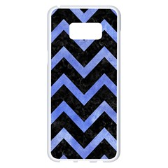 Chevron9 Black Marble & Blue Watercolor Samsung Galaxy S8 Plus White Seamless Case by trendistuff
