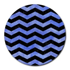 Chevron3 Black Marble & Blue Watercolor Round Mousepad by trendistuff