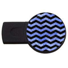 Chevron3 Black Marble & Blue Watercolor Usb Flash Drive Round (2 Gb) by trendistuff