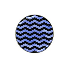 Chevron3 Black Marble & Blue Watercolor Hat Clip Ball Marker (10 Pack) by trendistuff