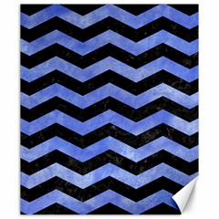 Chevron3 Black Marble & Blue Watercolor Canvas 20  X 24  by trendistuff