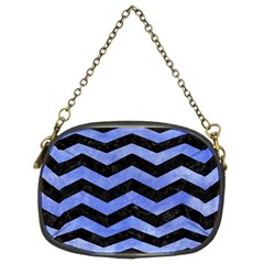Chevron3 Black Marble & Blue Watercolor Chain Purse (two Sides) by trendistuff