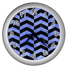 Chevron2 Black Marble & Blue Watercolor Wall Clock (silver) by trendistuff