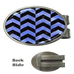 Chevron2 Black Marble & Blue Watercolor Money Clip (oval) by trendistuff