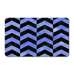 Chevron2 Black Marble & Blue Watercolor Magnet (rectangular) by trendistuff