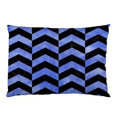 Chevron2 Black Marble & Blue Watercolor Pillow Case by trendistuff