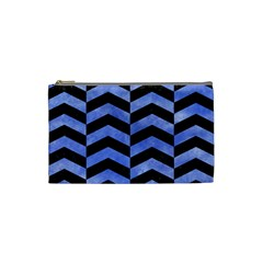Chevron2 Black Marble & Blue Watercolor Cosmetic Bag (small) by trendistuff